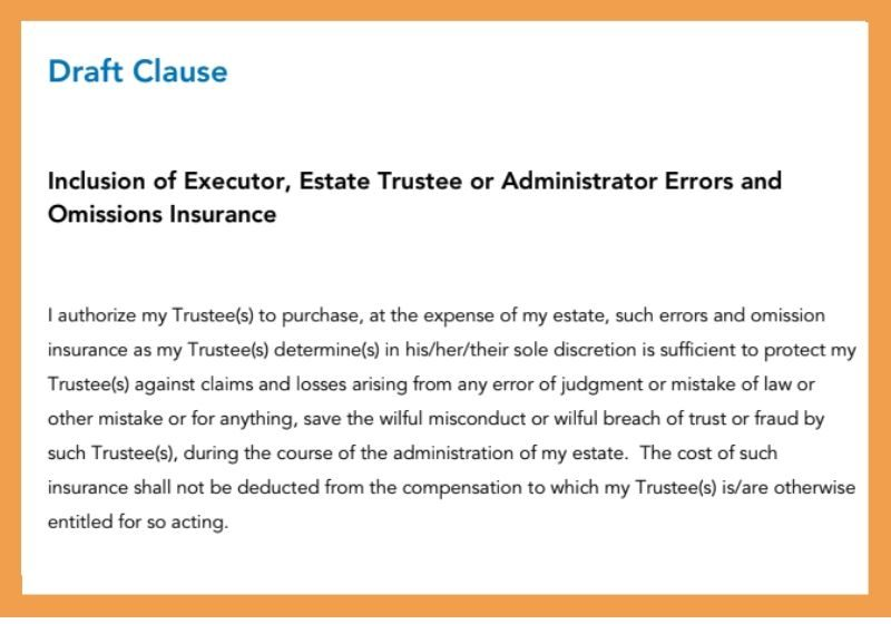 draft will clause for executor insurance
